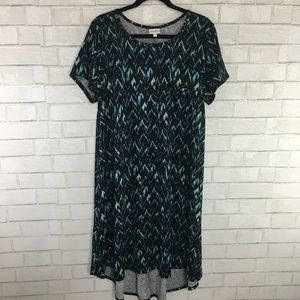 LuLaRoe Carly Dress, Black & Blue Abstract Chevron